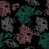 Pattern with Japan dragons. Trendy seamless embroidery pattern with graphic design colorful neon line Japan dragons. Modern vector illustration for street wear Stock Photo