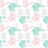 Pattern with Japan dragons. Trendy seamless embroidery pattern with graphic design line Japan dragons. Modern vector illustration for street wear brand print Royalty Free Stock Photo