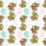 Pattern with Japan dragons. Trendy seamless embroidery pattern with graphic design line Japan dragons which are different colors. Modern vector illustration for Royalty Free Stock Image