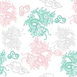 Pattern with Japan dragons. Trendy seamless embroidery pattern with graphic design line Japan dragons. Modern vector illustration for street wear brand print Royalty Free Stock Photos