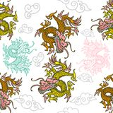 Pattern with Japan dragons. Trendy seamless embroidery pattern with graphic design line Japan dragons which are different colors. Modern vector illustration for Royalty Free Stock Images