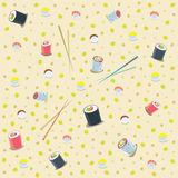 Pattern with japanese food. Colored illustration. EPS 10.0. RGB. Illustration can be used as template for cafe, restaurants, japanese food bar. Also can be use Royalty Free Stock Photo