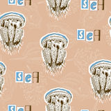 Pattern with jellyfishes Stock Images