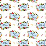 Pattern for Jewish holiday Rosh Hashana with traditional symbols Royalty Free Stock Photography