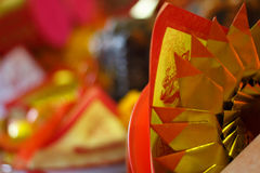 Pattern of Joss Paper, Chinese Tradition for Passed Away Ancesto. R`s spirits, Chinese new year Stock Images
