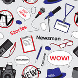 Pattern with journalism icons Stock Images