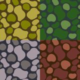 Pattern khaki set. Four samples of patterns in a camouflage coloring Stock Photos