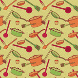 Pattern of kitchen utensils in a cartoon style. The pattern of a set of kitchen attributes stock illustration