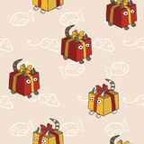 Pattern with kittens, hiding in present boxes Stock Photo