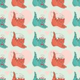 Pattern with kittens-married Stock Photos
