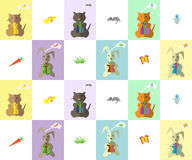 Pattern. Kitty and Bunny and gifts Royalty Free Stock Image