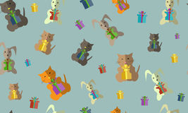 Pattern. Kitty and Bunny Royalty Free Stock Photos