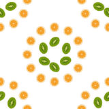 Pattern kiwi, orange, peach. Vector fruit. Royalty Free Stock Photography