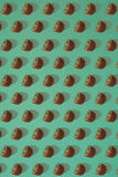 Pattern of kiwi. Top view of the sliced kiwi on blue background. Minimal flat lay concept. Royalty Free Stock Photography