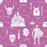 Pattern with knight, shields, swords and other. Seamless pattern with knight, castle, shields, swords, cuirass, helmet, crown, treasure chest, bow, quiver of royalty free illustration
