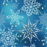 Pattern of knitted snowflakes and crystal. Stock Image