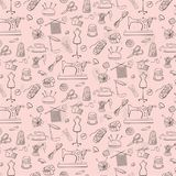 Pattern of knitting, sewing and needlework  icons. Pattern of knitting, sewing and needlework  icons on the pink background Stock Images