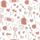 Seamless Pattern with Needlework Doodle on White Background. Pattern with Knitting and Sewing Tools. Vector Doodle Elements stock illustration