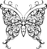 Pattern lace butterfly. Pattern decorative black lace butterfly on white Stock Photos