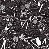 Pattern with ladies wear in black-and-white palette Stock Image