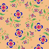 Pattern with ladybugs, flowers and butterfly. Seamless pattern with ladybugs,  flowers and butterfly Royalty Free Stock Photos