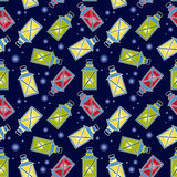 Pattern with lanterns Stock Photography