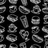Pattern of latte, cappuccino, burger, hamburger, hotdog, frappe, espresso americano and americano in cup for take away in royalty free illustration
