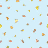 Pattern with leaf. Seamless pattern with falling leaves on  blue background. Autumn season. Vector image Stock Photography