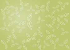Pattern of leafs on green background. Vector art Royalty Free Stock Photo
