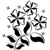 Pattern of leaves and flowers. Black and white pattern of leaves and flowers royalty free illustration
