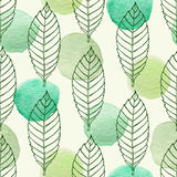 Pattern with leaves and green watercolor blots Stock Photo
