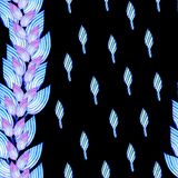 Seamless pattern with blue leaves in african style. vector illustration