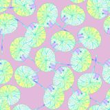 Pattern with  yellow leaves on pink background. stock illustration