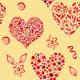 Pattern with leaves in shape of heart 2 Royalty Free Stock Images