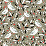 A pattern of leaves and swans Royalty Free Stock Photo