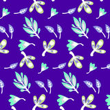 Pattern with leaves and twigs. Cartoon cute cute delicate background vegetative pattern with leaves and twigs Royalty Free Stock Images