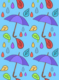 Pattern with leaves and umbrellas Royalty Free Stock Photo