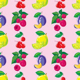 Pattern of lemon, raspberry, cherry and plum Stock Photos