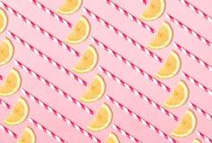 Lemonade pattern on pink background Stock Images