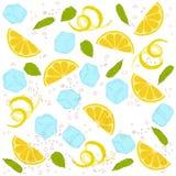 Pattern lemonade. Carbonated water, lemon slices, lemon peel, lemon peel, ice cubes, air bubbles, mint leaves Stock Images