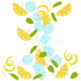 Pattern lemonade. Carbonated water, lemon slices, lemon peel, lemon peel, ice cubes, air bubbles, mint leaves Stock Photos