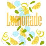 Pattern lemonade. Carbonated water, lemon slices, lemon peel, lemon peel, ice cubes, air bubbles, mint leaves, lemonade sign Royalty Free Stock Image