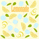 Pattern lemonade. Carbonated water, lemon slices, lemon peel, lemon peel, ice cubes, air bubbles, mint leaves, lemonade sign Stock Photos