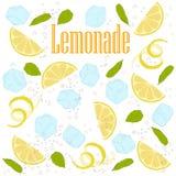 Pattern lemonade. Carbonated water, lemon slices, lemon peel, lemon peel, ice cubes, air bubbles, mint leaves, lemonade sign Stock Photo