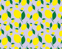 Pattern with lemons. Bright tropical background. The summer theme. Fresh design for printing Vector seamless ornament Royalty Free Stock Photo