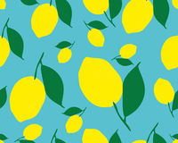 Pattern with lemons. Bright tropical background. The summer theme. Fresh design for printing Vector seamless ornament Stock Images