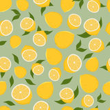 Pattern of lemons. Seamless pattern of leaves and lemon. Vector Illustration Royalty Free Stock Image
