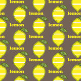 Pattern with lemons. Seamless pattern with lemons stripes on brown background Stock Image