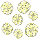 A pattern of lemons. On a white background freehand drawing Royalty Free Stock Photos