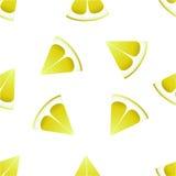 The pattern of lemons on a white background. Seamless pattern. Slices of lemon stock illustration
